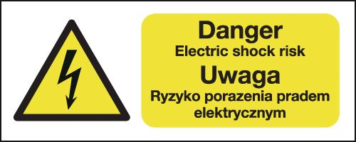 100 x 250 mm danger electric shock risk uwaga self adhesive vinyl labels.