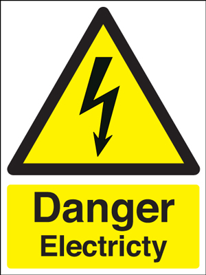 400 x 300 mm Danger Electricity Safety Labels