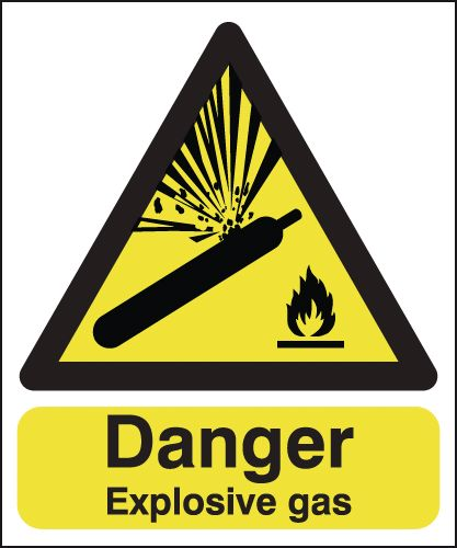 300 x 250 mm danger explosive gas 1.2 mm rigid plastic signs with self adhesive backing.