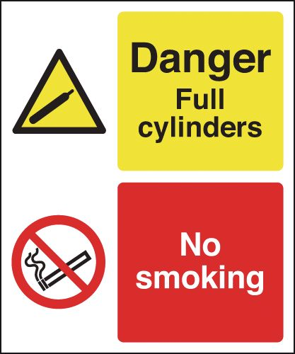 300 x 250 mm danger full cylinders no smoking 1.2 mm rigid plastic signs.