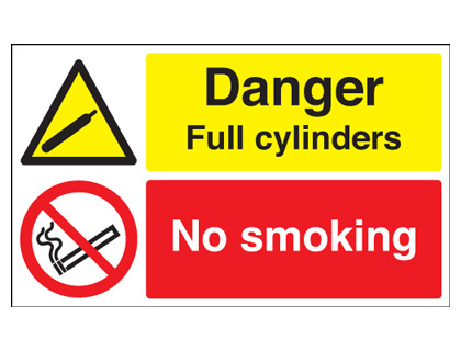 300 x 500 mm danger full cylinders no smoking self adhesive vinyl labels.