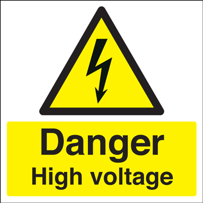 50 x 50 danger high voltage self adhesive label.