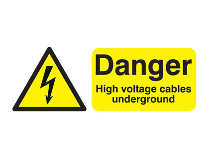 100 x 250 mm danger high voltage cables under 1.2 mm rigid plastic signs.