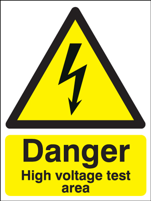 400 x 300 mm danger high voltage test area 1.2 mm rigid plastic signs.