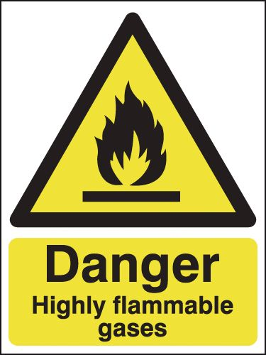 150 x 125 mm danger highly flammable gases 1.2 mm rigid plastic signs.