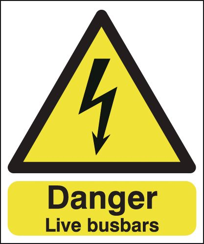 150 x 125 mm danger live busbars 1.2 mm rigid plastic signs with self adhesive backing.