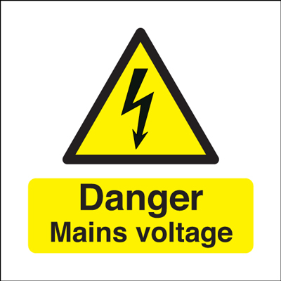 25 x 25 danger mains voltage self adhesive label.