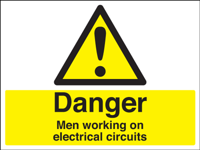 450 x 600 mm danger men working on electrical self adhesive vinyl labels.