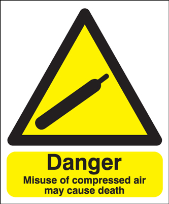 300 x 250 mm danger misuse of compressed air 1.2 mm rigid plastic signs.