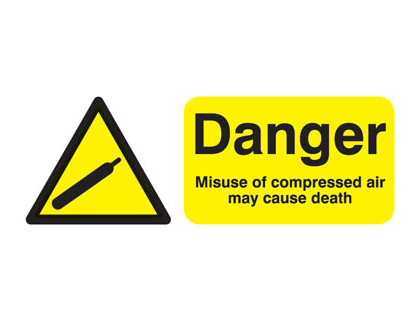100 x 250 mm danger misuse of compressed air 1.2 mm rigid plastic signs.