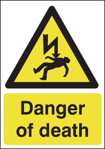 A5 danger of death self adhesive vinyl labels.