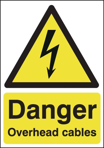 A5 danger overhead cables self adhesive vinyl labels.