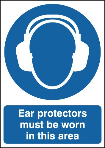 UK fire escape signs - 400 x 300 mm NG ear protectors must be worn nite glo self adhesive class B