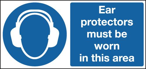 UK fire escape signs - 100 x 250 mm NG ear protectors must be worn nite glo plastic class B 1.2 mm