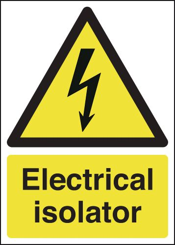 UK hazard signs - 175 x 125 mm electrical isolator self adhesive vinyl labels.