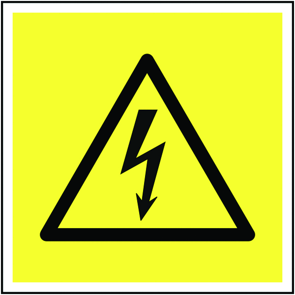 UK hazard signs - 125 x 125 mm electricity symbol self adhesive vinyl labels.