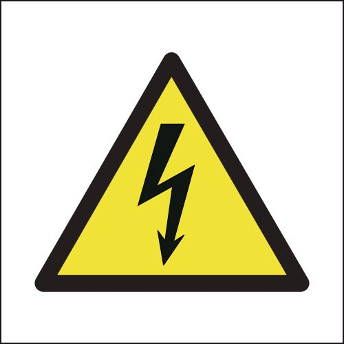 200 x 200 mm electricity symbol 1.2 mm rigid plastic signs with self adhesive backing.