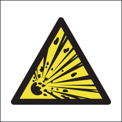 UK hazard signs - 300 x 300 mm explosive hazard SYMBOLS 1.2 mm rigid plastic signs with self adhesive backing.