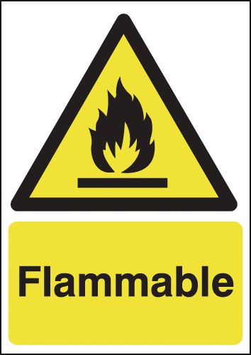 UK hazard signs - 400 x 300 mm flammable self adhesive vinyl labels.