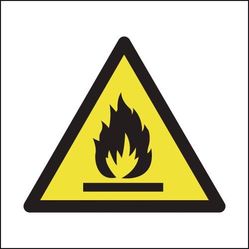 UK hazard signs - 150 x 150 mm flammable SYMBOLS self adhesive vinyl labels.