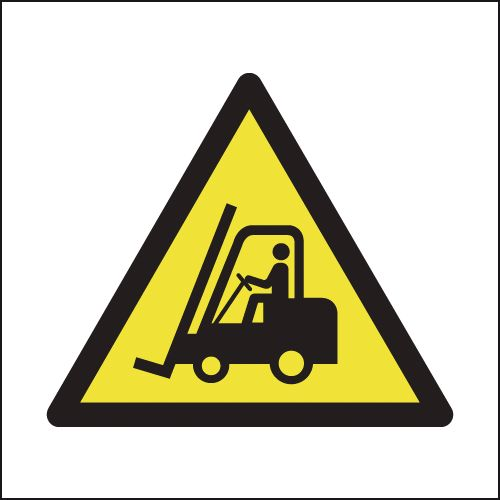 UK fork lift signs - 150 x 150 mm fork lift truck SYMBOLS 1.2 mm rigid plastic signs.
