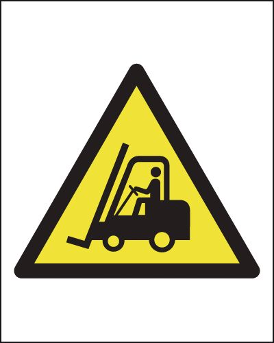 UK fork lift signs - 200 x 200 mm fork lift truck SYMBOLS 1.2 mm rigid plastic signs with self adhesive backing.