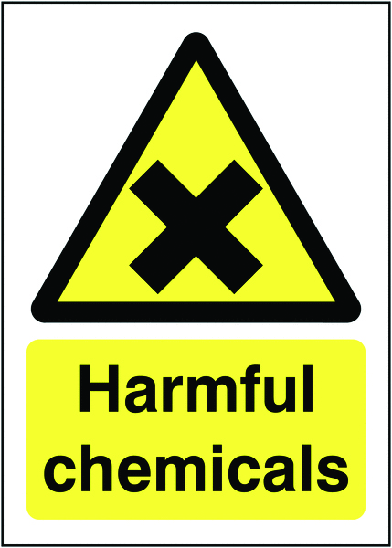 UK hazard signs - 150 x 125 mm harmful chemicals 1.2 mm rigid plastic signs.