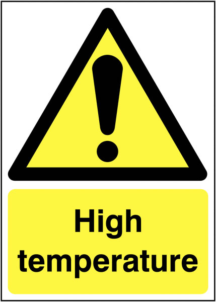 UK hazard signs - A5 high temperature self adhesive vinyl labels.