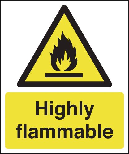 UK hazard signs - 150 x 125 mm highly flammable self adhesive vinyl labels.