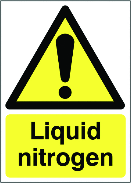 UK hazard signs - 175 x 125 mm liquid nitrogen 1.2 mm rigid plastic signs with self adhesive backing.