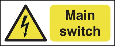UK hazard signs - 100 x 250 mm main switch self adhesive vinyl labels.