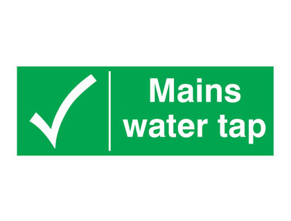 UK water signs - 100 x 250 mm mains water tap 1.2 mm rigid plastic signs.