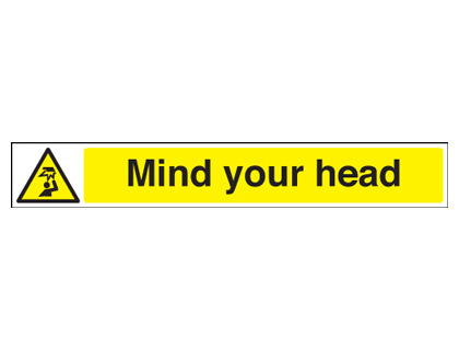 UK hazard signs - 60 x 400 mm mIndustrial your head 1.2 mm rigid plastic signs with self adhesive backing.