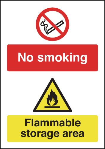 UK smoking signs - 150 x 125 mm no smoking flammable storage self adhesive vinyl labels.