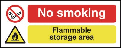 UK smoking signs - 100 x 250 mm no smoking flammable storage self adhesive vinyl labels.
