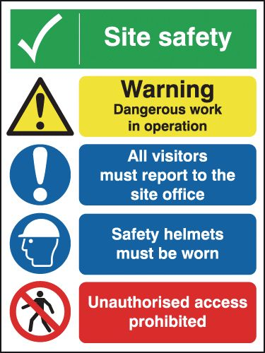 600 x 450 mm Site Safety Warning Dangerous Safety Signs