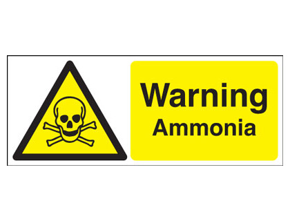 UK warning signs - 100 x 250 mm warning ammonia self adhesive vinyl labels.