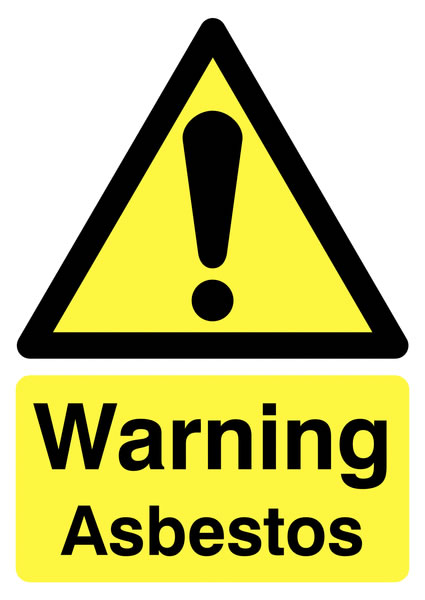 UK warning signs - 400 x 300 mm warning asbestos self adhesive vinyl labels.