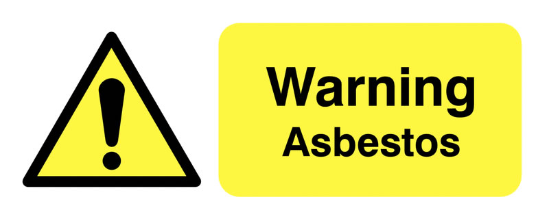 UK warning signs - 100 x 250 mm warning asbestos self adhesive vinyl labels.