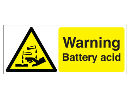 100 x 250 mm warning battery acid 1.2 mm rigid plastic signs.