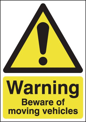 400 x 300 mm warning beware of moving vehicle aluminium 0.9 mm
