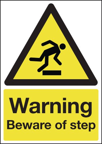 600 x 450 mm warning beware of step self adhesive rigid plastic 1.2 mm