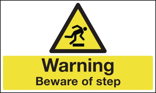 100 x 250 mm warning beware of step 1.2 mm rigid plastic signs with self adhesive backing.