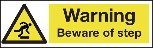 100 x 250 mm Warning Beware of Step Safety Signs