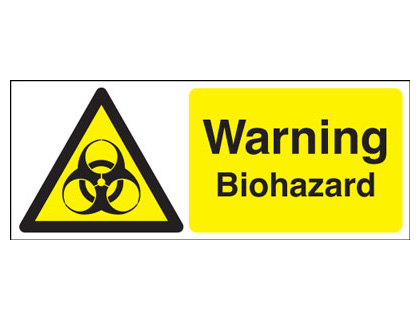 UK warning signs - 100 x 250 mm warning biohazard self adhesive vinyl labels.