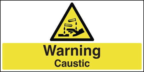 UK warning signs - 100 x 250 mm warning caustic self adhesive vinyl labels.