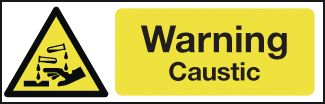 100 x 250 mm Warning Caustic Safety Signs