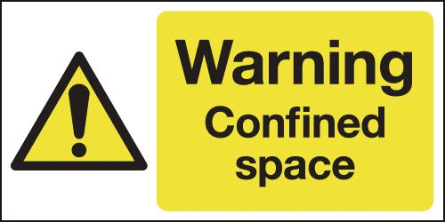 UK warning signs - 100 x 200 mm warning confined space self adhesive vinyl labels.