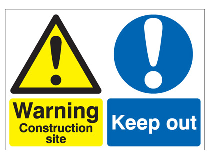 UK warning signs - 400 x 300 mm warning construction site keep self adhesive vinyl labels.