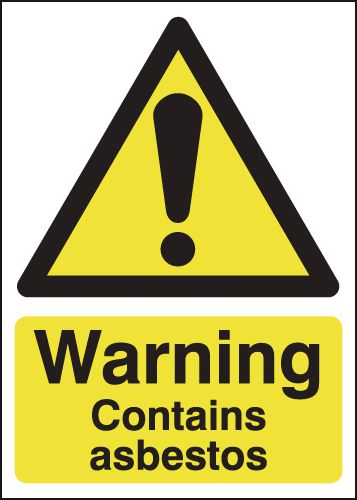 UK hazard signs - 70 x 50 warning contains asbestos 1.2 mm rigid plastic signs.